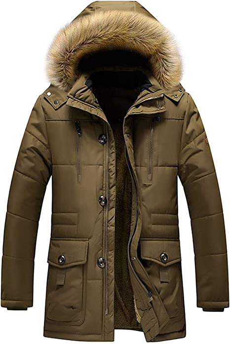 Details zu Herren Winterjacke Parka Mantel Warme Winter Funktions Jacke Outdoor Kunstfell