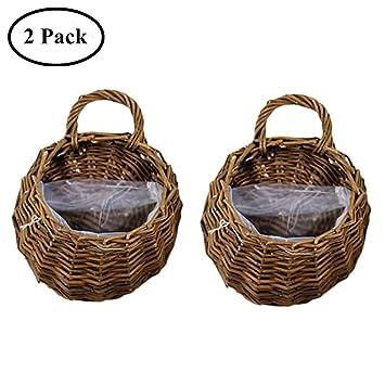 Amazon Com Yunhigh Hanging Planter Basket Wall Mounted Hand Woven