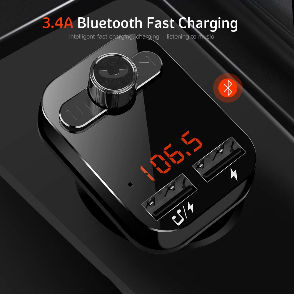 Bluetooth FM Transmitter for Car Radio,Uverbon Wireless In-Car FM Transmitter Audio Adapter Receiver With Hands-free Call +3.1A Dual usb car charge for iPhone, Samsung, etc