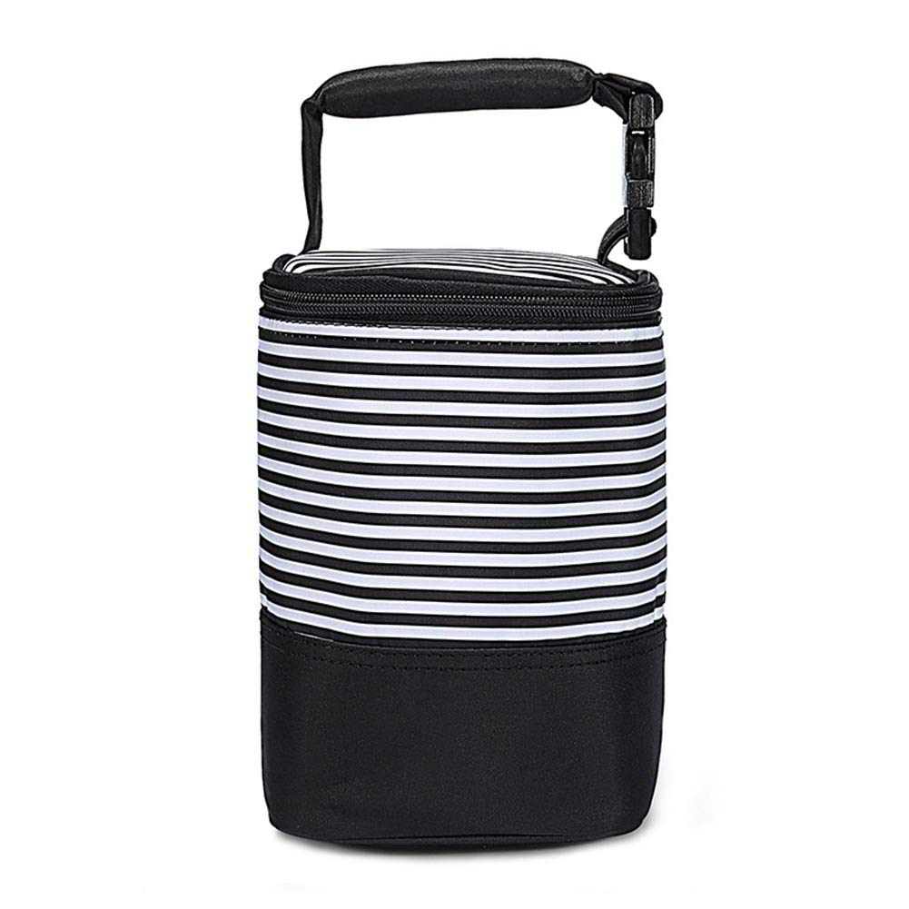HaloVa Diaper Bag, Baby Bottle Bag, Multipurpose Breastmilk Insulated Storage Tote Bag, Fashionable Handbag for Mommy and Daddy, Four Bottles Capacity with Detachable Handheld Strap, Black Stripes