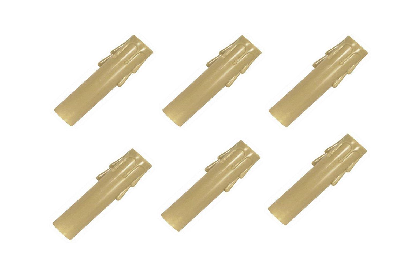 Set of six Upgradelights Cream Fiber Drip Candelabra Base 6 Inch Candle Sleeves