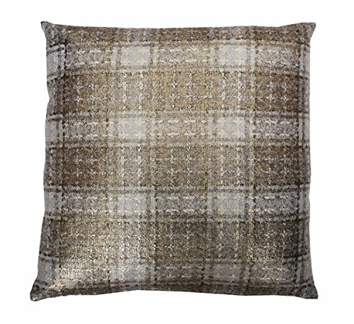 Thro by Marlo Lorenz TH007772001 Maxi Plaid Pillow, Ivory Gold