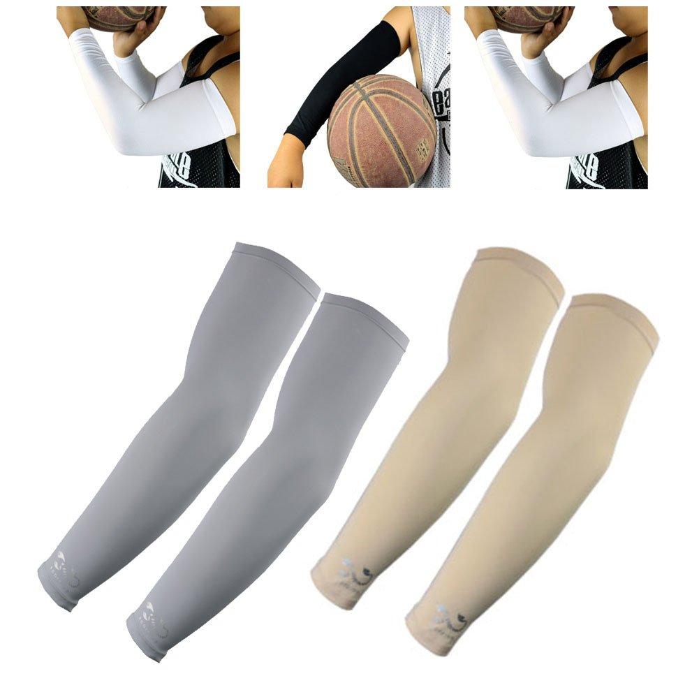 2ペアのアームスリーブScorpion CoolアームスリーブUV保護for Youth Kids Arm warmers forサイクリングゴルフ野球バスケットボール、グレー、ベージュ   B073HQDXTT