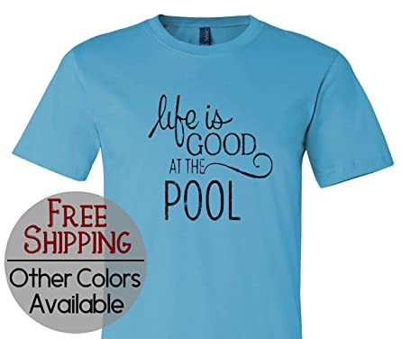 5a60418c868 his   her threads Life Is Good at The Pool Graphic Men Womens Short Sleeve  Print T Shirt Tee Shirt at Amazon Women s Clothing store