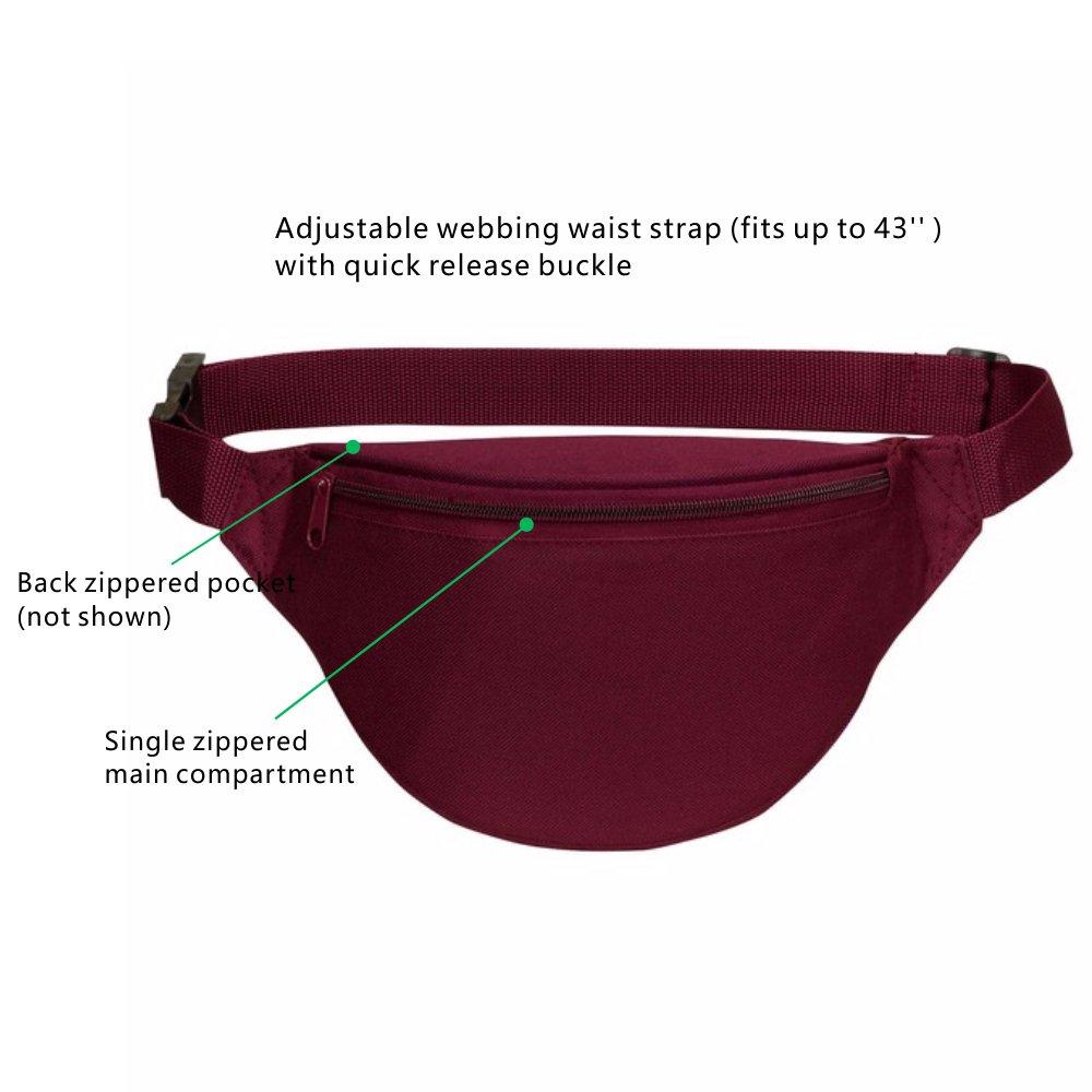 Women Men Travel Sport Running Cute Fanny Pack Bag Adjustable Waist 2 Zipper Travel Sport Running Fanny Pack Bag AirBuyW Waist Bag