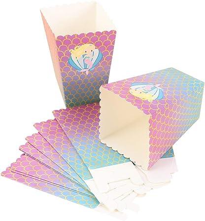 Amosfun - Cajas de Palomitas de Sirena de cartón, Caja de Dulces para niños, Ideal para Fiestas de Bodas, cumpleaños: Amazon.es: Hogar
