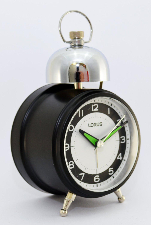 Lorus Clocks Black Bedside Bell Alarm Clock LHK012K