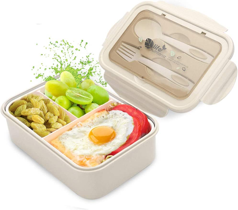 scuola universit/à e viaggio bento box per lavoro COM-FOUR/® Lunch box in bianco con posate e scatola di salsa 01 pezzo - bianco - 19 cm