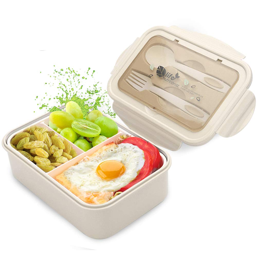 Leakproof Eco lunchbox for Kids and Adults with Lunch Bag 1400 ml Bento Box Japanese Lunch Box With Spoon /& Fork BPA Free Beige