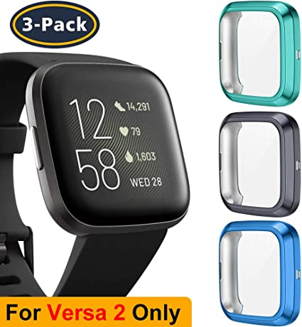 All-Around Protective Screen Protector Case Bumper Shell Soft TPU Plated Bumper Compatible with Inspire Fitness Tracker QIBOX Cover Compatible with Inspire HR 2-Pack Full Protection