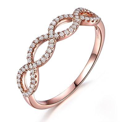 14k rose gold wedding bandhalf eternityengagementstackable ringpave diamond