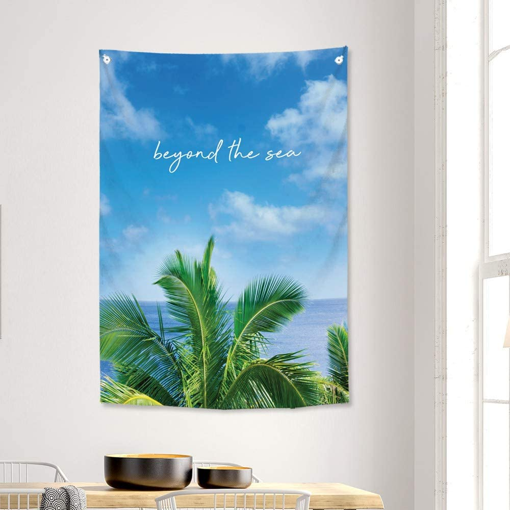 SANGSANGHOO Wall Hanging Tapestry Beyond The Sea 33.5x47 in for Room Decoration