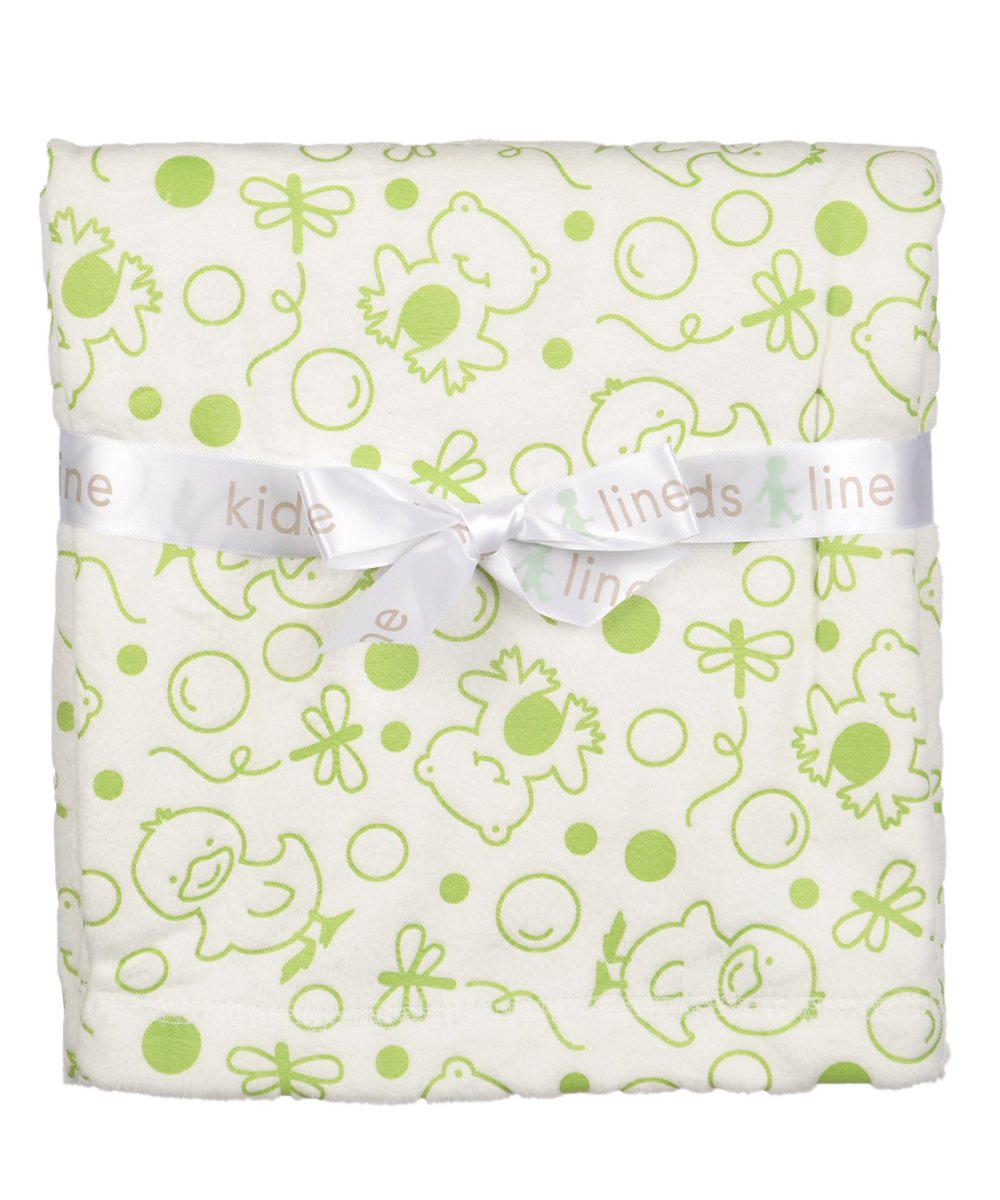 Frogs Chicks Embossed Velour Blanket by Kids Line Sage Green on White by KidsLine   B00A74IOO8