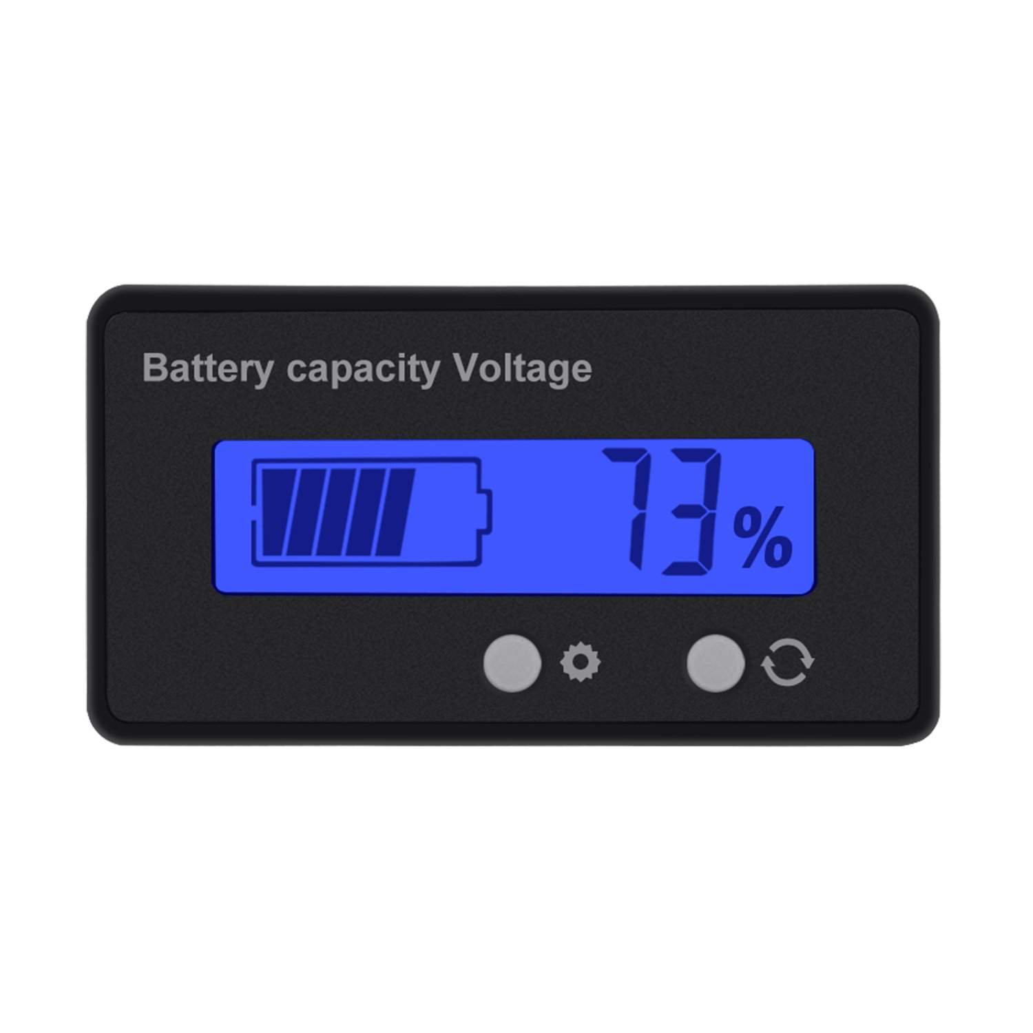 Konesky LCD Battery Capacity Monitor Gauge Meter, Lead Acid Battery Tester Lithium Battery Capacity Indicator Voltmeter for 12V/24V/36V/48V (Greenbacklight)