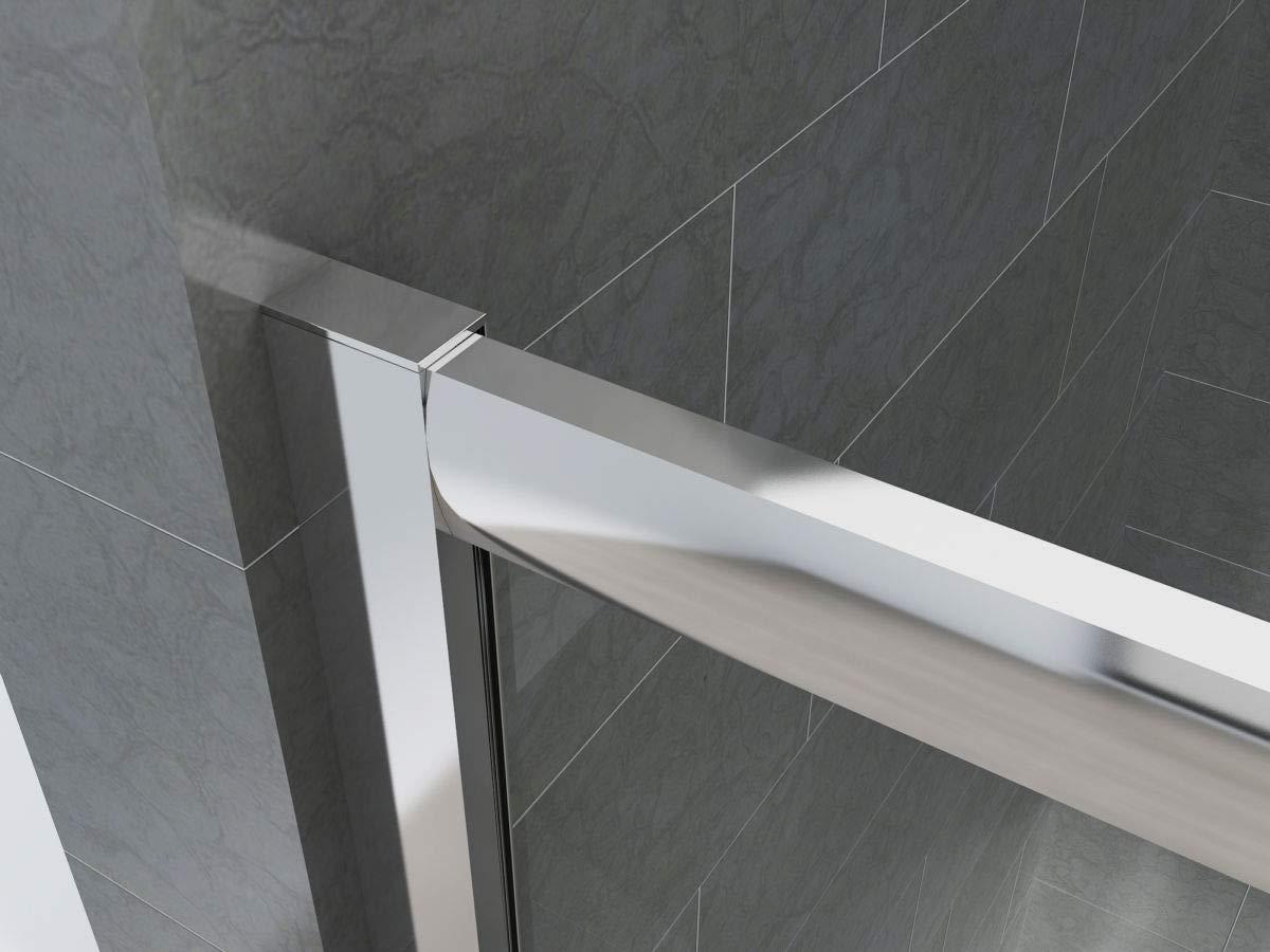 H/öhe 190 Serie Smart 100//120 // 140//160 cm transparent 6 mm mit Schiebet/ür transparent und matt aus eloxiertem Aluminium Yellowshop Duschkabine f/ür Badezimmer
