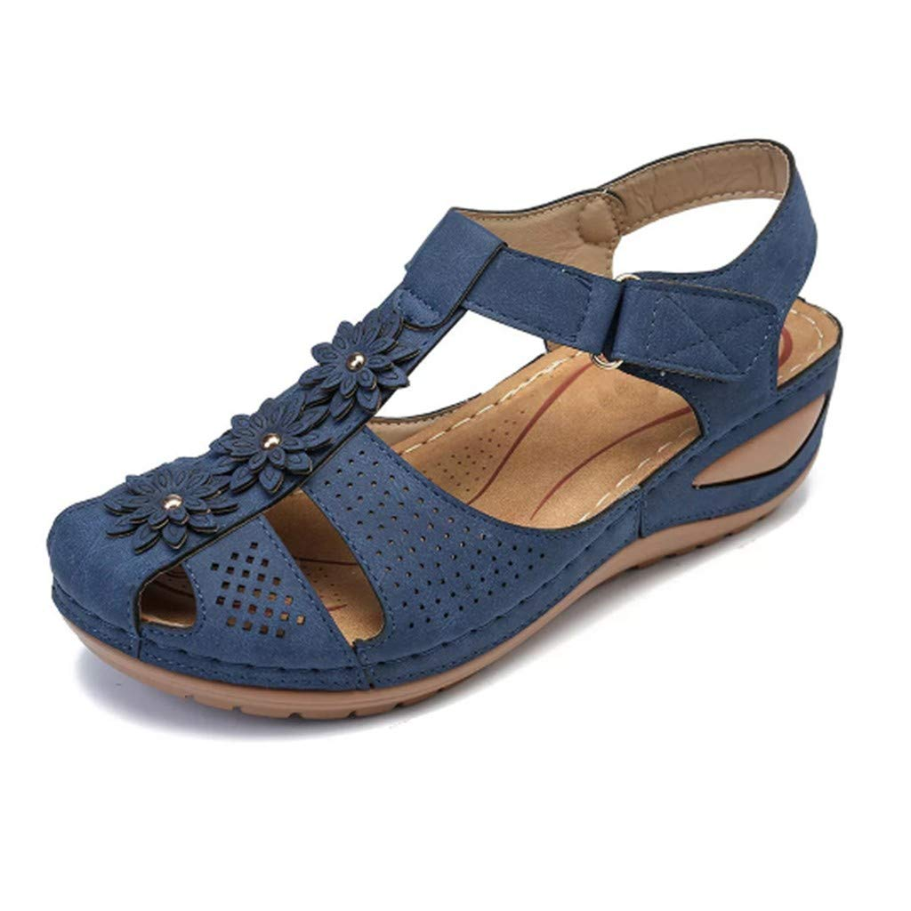 Leather Sandals,ONLY TOP Women's Comfort Leather Loafers Shoes Hollow Out Hook Loop Sandals Closed Toe Flat Shoes by ONLYTOP_Shoes