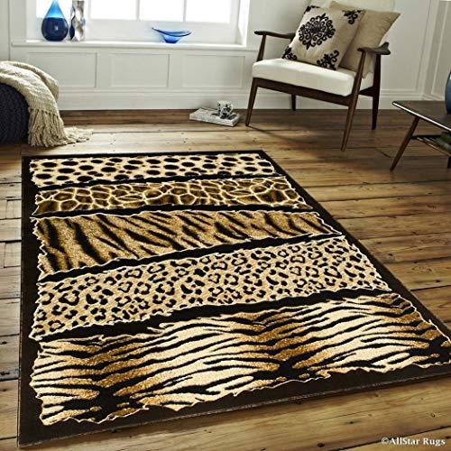 5'2x7'2 Orange Black Safari Leopard Print Area Rug Rectangle, Indoor Brown Tiger Pattern Carpet for Living Room Africa Floor Mat Jungle Wilderness Zebra Animal Skin Wildlife Exotic, Polypropylene ()