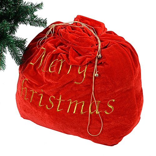 Christmas Decoration 35'' Santa Claus Gift Bag Candy Party Cookie Bags w/Belt (Coral Bells Snow Angel)