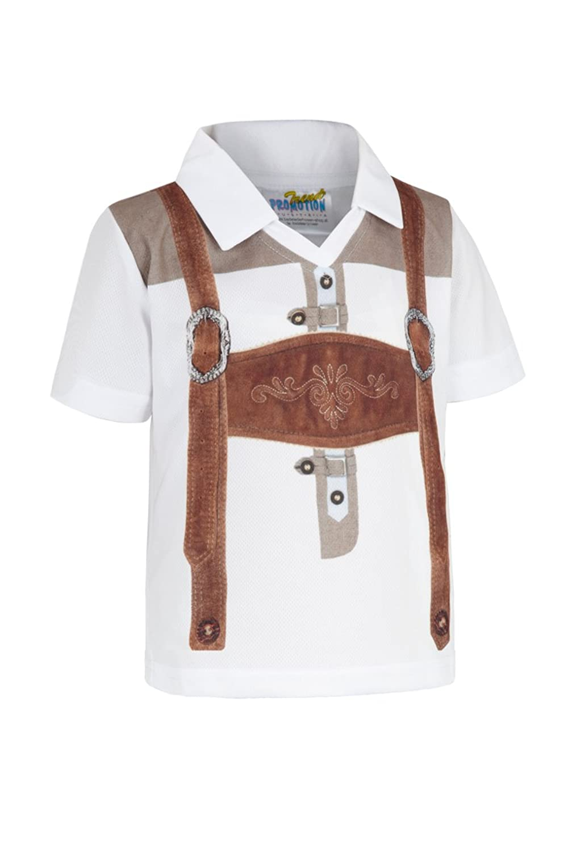 Trend Jungen Kindershirt weiß-braun Lederhose 140698
