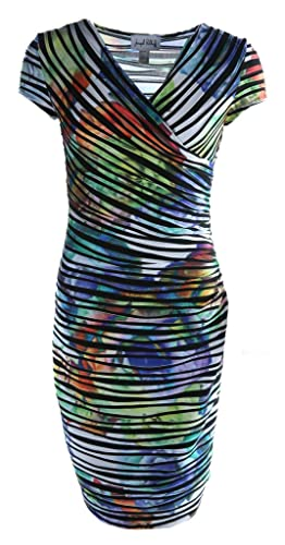 Joseph Ribkoff Black, White & Multicoloured Floral Striped Dress Style 171685 - Size 16