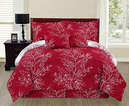 6 Piece Reversible Branches Comforter Set New Bedding (Queen, Red)