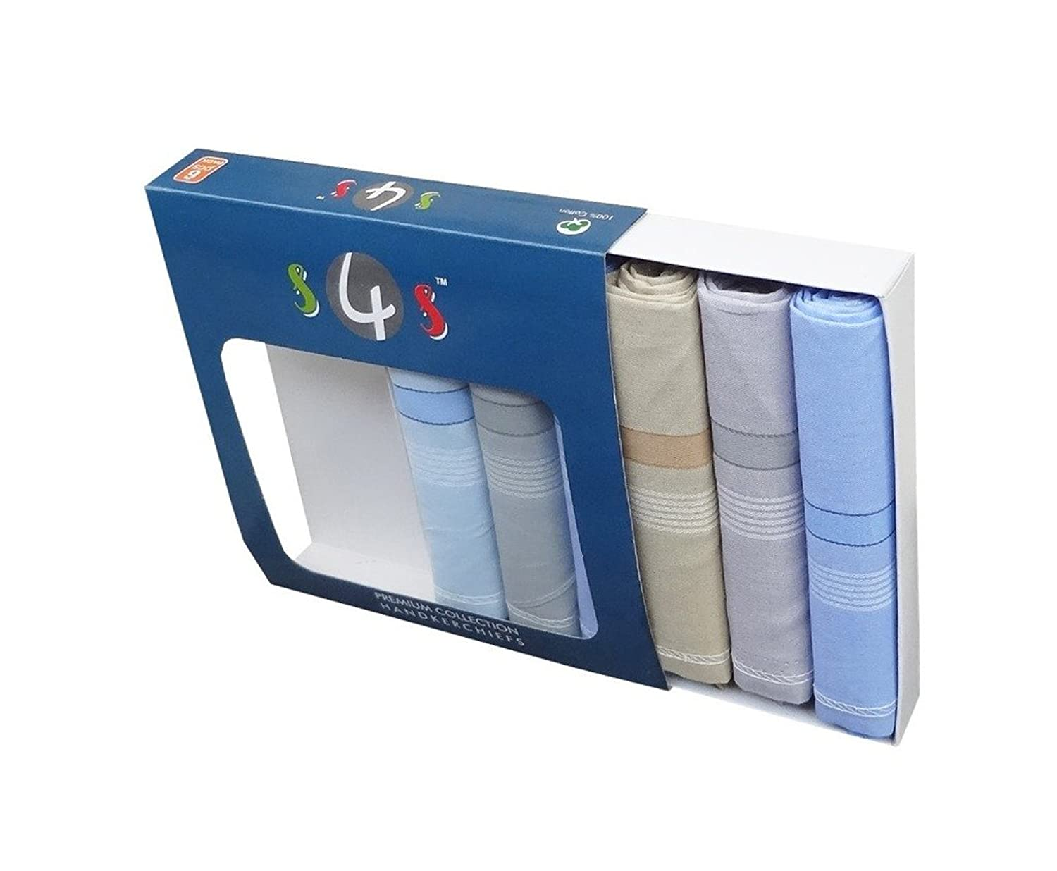 S4S Men's 100% Cotton Premium Collection Handkerchiefs - Pack of 6