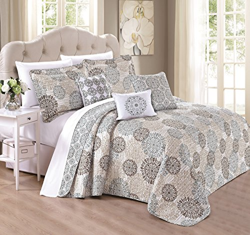 Serenta 6 Piece Marina MDLN Printed Microfiber Quilts Coverlet Set, King, Cameo Blue