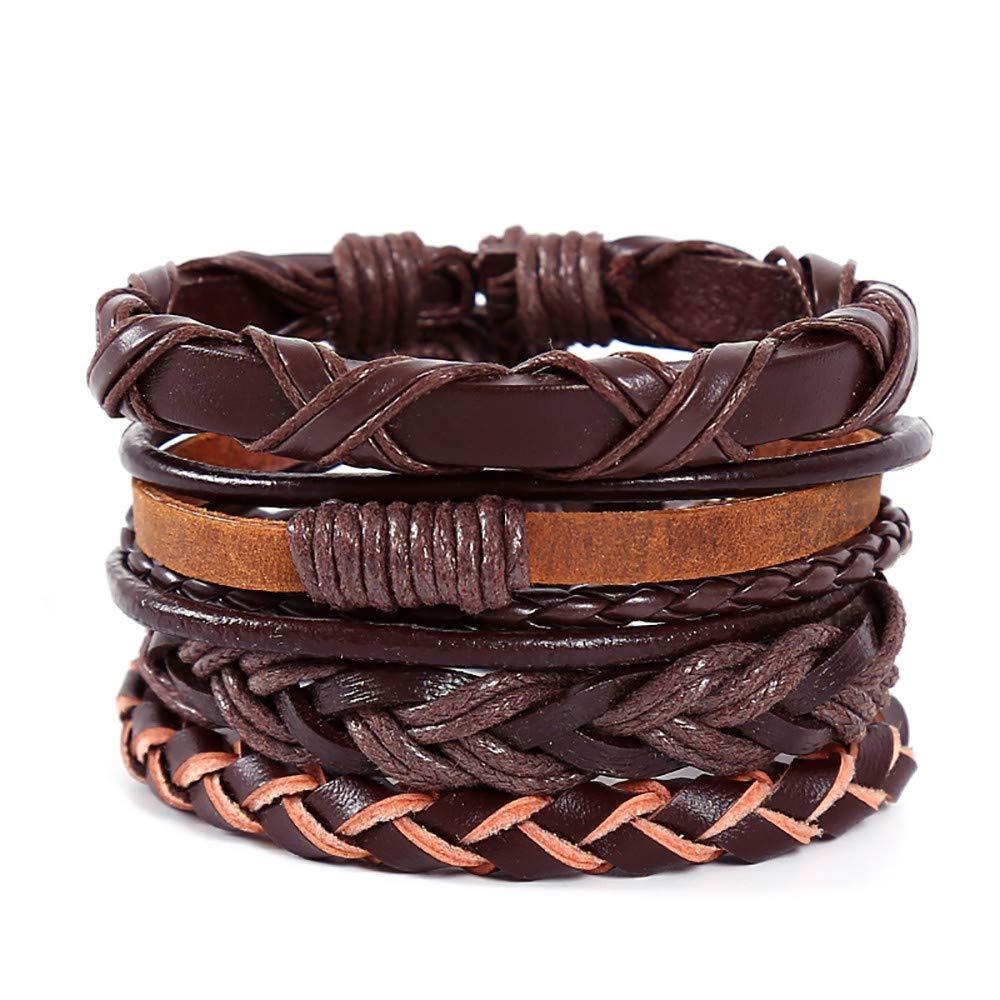 Sikye-Jewelry Vintage Braid Leather Bracelet Handmade Multilayer Hemp Rope Bangle Adjustable Personality Bracelet for Men Gift of 4Pcs