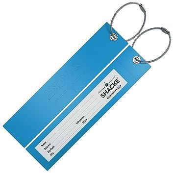 Shacke - Etiquetas Para Maletas Con Diseño De Goma Grande Plegable C/ Presillas De Acero Shacke (Verde Azulado): Amazon.es: Equipaje