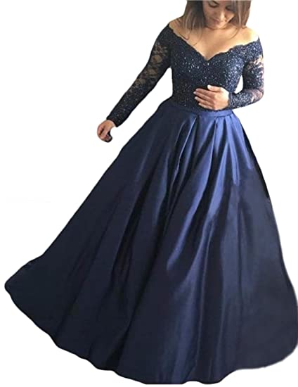 Off Shoulder Long Sleeve Lace Satin Evening Dresses Ball Gown Wedding Womens Formal Navy Size 2
