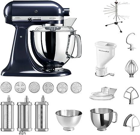 KitchenAid Artisan – Robot de cocina, 5 ksm175ps, pasta del paquete incluye Top accesorios: Pasta Snoot con 3 rodillos, pasta Prensa (Corto) con 6 boquillas, nudeltrockner y accesorios estándar morado: Amazon.es: Hogar