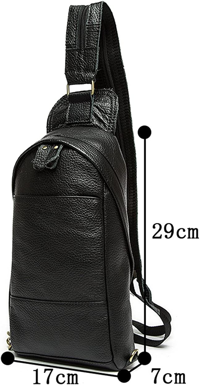 Genda 2Archer Men's Leather Leisure Cross Body Chest Pack Camping Hiking Bag