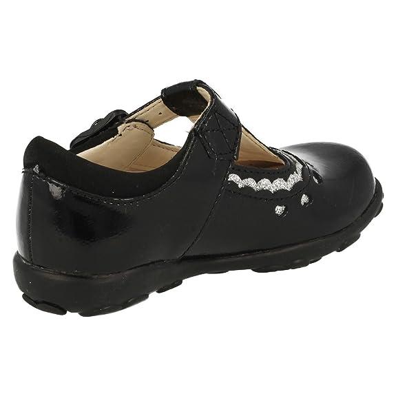 Clarks Ella Alicia chicas zapatos primera patente negro o morado Black Patent 6 F JY57c