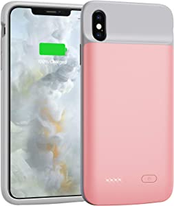 Battery Case for iPhone X/Xs/10, 4100mAh Ultra Slim Portable Protective Charging Case Extended Rechargeable Battery Pack for iPhone X/Xs (5.8 Inch) Pink