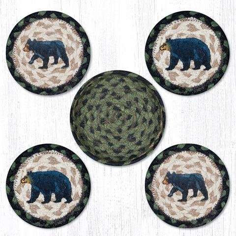 Black/Cream Mama Bear Round Coasters - Set of 5