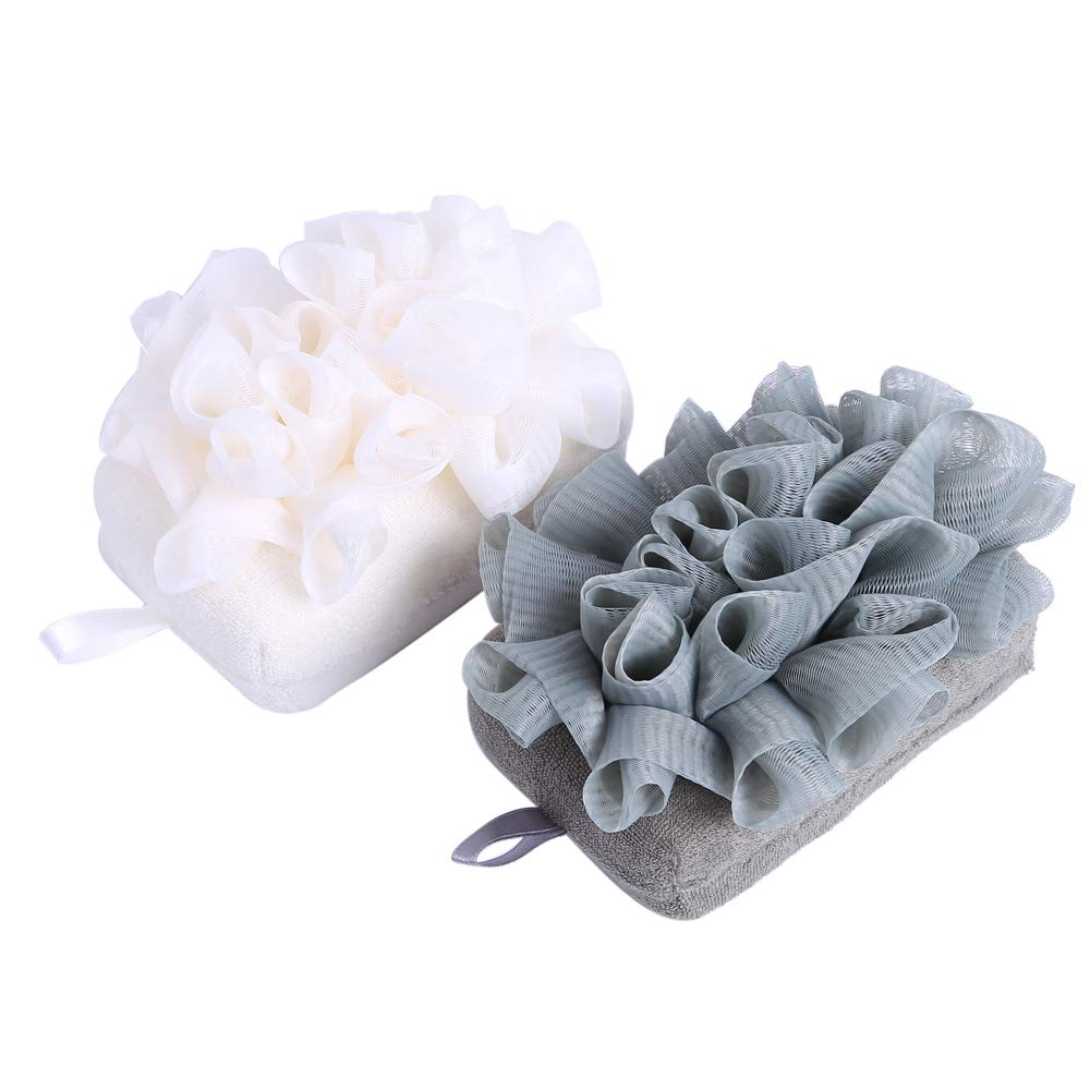 Bath Sponge Loofah for Shower - Body Wash Back Scrubber 2 Color Packs, Exfoliate Body for Men and Women, Sister Gifts for Christmas Festival AHAAHA