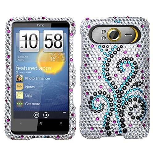 Frosty Heart - Asmyna HTCHD7HPCDM131NP Dazzling Luxurious Bling Case for HTC HD7 - 1 Pack - Retail Packaging - Frosty Heart