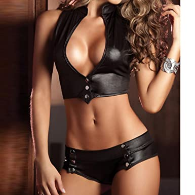 Amazon.com: Tsmile Womens Halter Lingerie}❤️Clearance✿2 Piece Set Bandage Clubwear Stripper Patent Leather Underwear (Black): Clothing