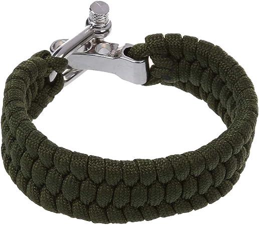 SODIAL(R) 7 Strand Supervivencia Militar pulsera de la cuerda de la armadura de la hebilla - Verde: Amazon.es: Hogar