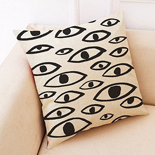 (Fulijie Throw Pillow Covers, Natural Linen Look Fabric Black and White Style Pillow-Cases Sofa Home Decor 18 x 18 inch)
