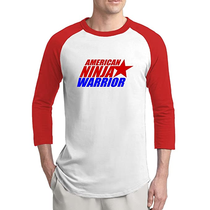 Amazon.com: Hombres 3/4 Sleeve American Ninja Warrior Raglan ...