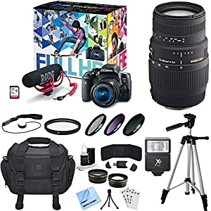 Canon EOS Rebel T6i Video Creator Kit w/ 18-55mm and 70-300mm Lens Bundle includes Creator Kit, 18-55mm Lens, 70-300mm Lens, 16GB + 8GB SDHC Memory Cards, Bag, Tripod, Beach Camera Cloth and More