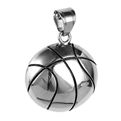 d23bb274519 PAURO Hommes Acier Inoxydable Basketball Sport Collier Pendentif Pas De  ChaîNe