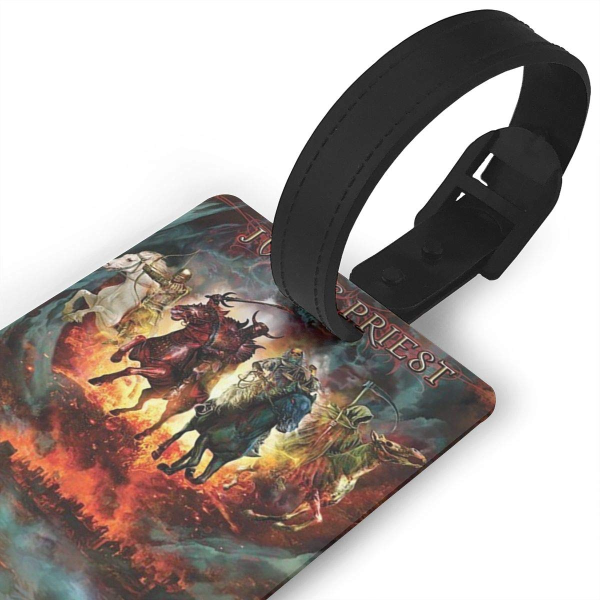 Hushuxiapp Judas Priest Complete Printed Design PVC Luggage Tag Travel Suitcase ID Labels Accessories Leather Wristband