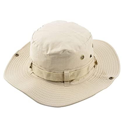 9d4677f2b0d Included component1 Piece Beige   Fisherman Outdoor Sports Hiking Hunting  Adjustable Strap Wide Brim Sun Protector Bucket Summer Cap Fishing Hat   Amazon.in  ...