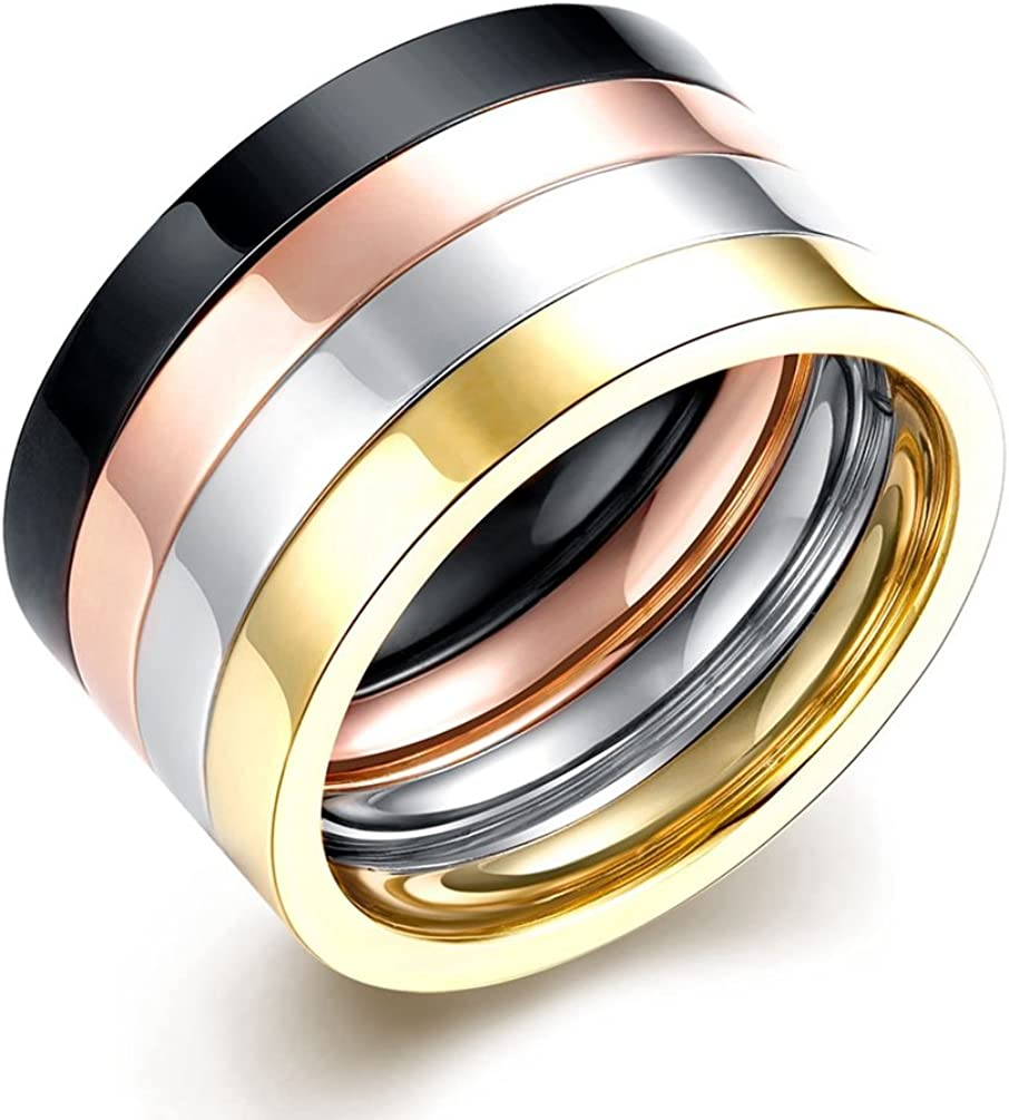 Mens Vintage 12MM Wedding Bands 316L Titanium Stainless Steel Stacking Stlye Promise Rings High Polished Finish Comfort Fit Size 7-10