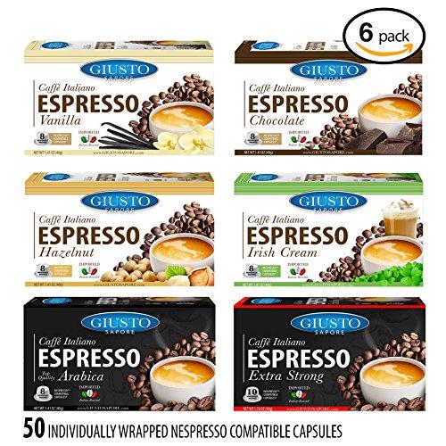 Giusto Sapore Caffe Italiano Espresso Italian Roasted Coffee - Nespresso Compatible Capsules - Premium Superior Quality Gourmet Brand - Family Owned (Asst - 6 Boxes)