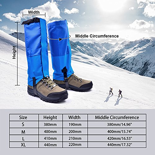 Leanking Leg Gaiters, Waterproof Snow Boot Gaiters 600D Anti-Tear Oxford Fabric Outdoor Waterproof Snow Leg Gaiters for Outdoor Hiking Walking Hunting Climbing Mountain (Blue, M) by Leanking (Image #5)