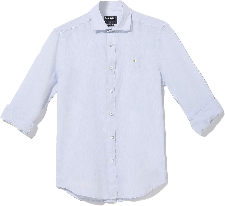 SILBON - Camisa Sport Essential Lino Celeste para Hombre: Amazon.es: Ropa y accesorios