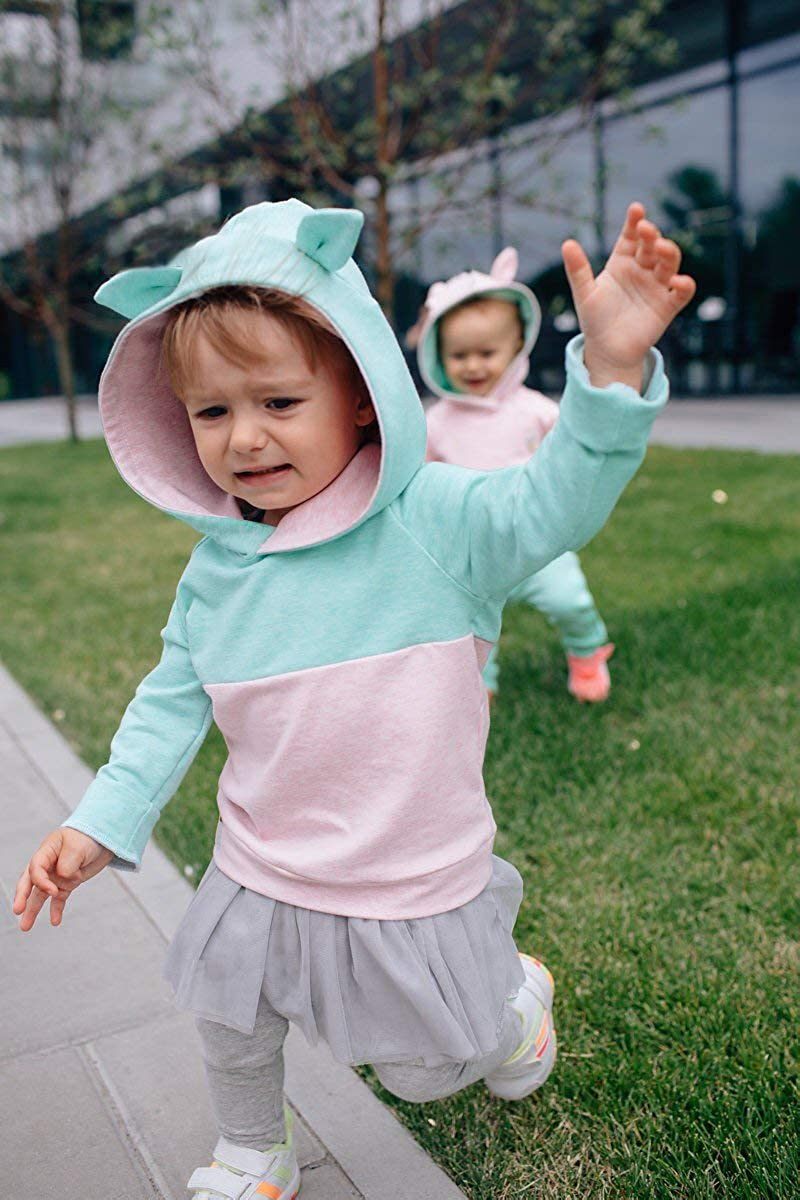 Toddler Baby Girl Fall Contrast Ice Cream Hoodie Hooded Tops Ears Clothes